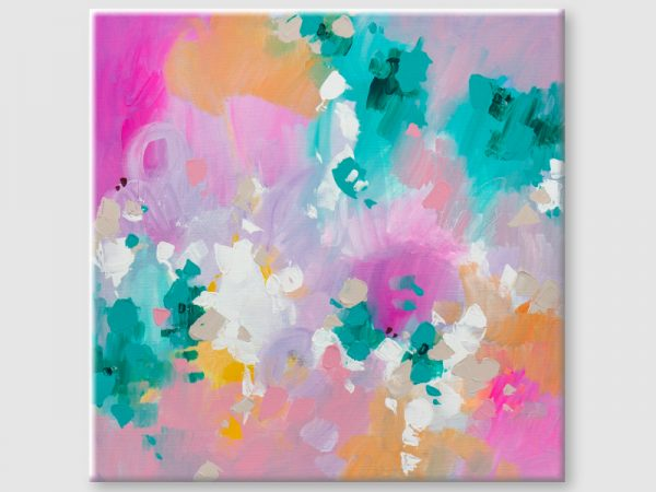 pink abstract art on canvas