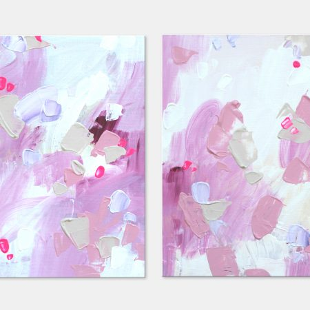 Pink paintings on canvas board