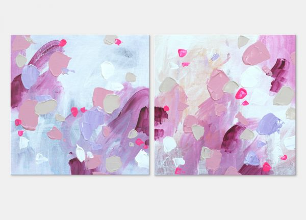 Pink abstract painting on canvas board