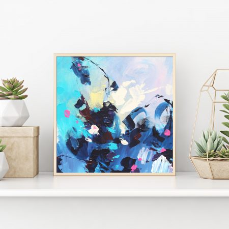 Small blue abstract art