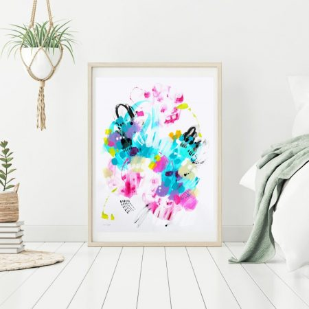 Modern abstract painting on paper